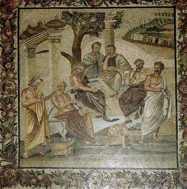 Roman Mosaic Of Plato And His School Of Philosophers Pompeii Italy Roman Mosaic Painting Art