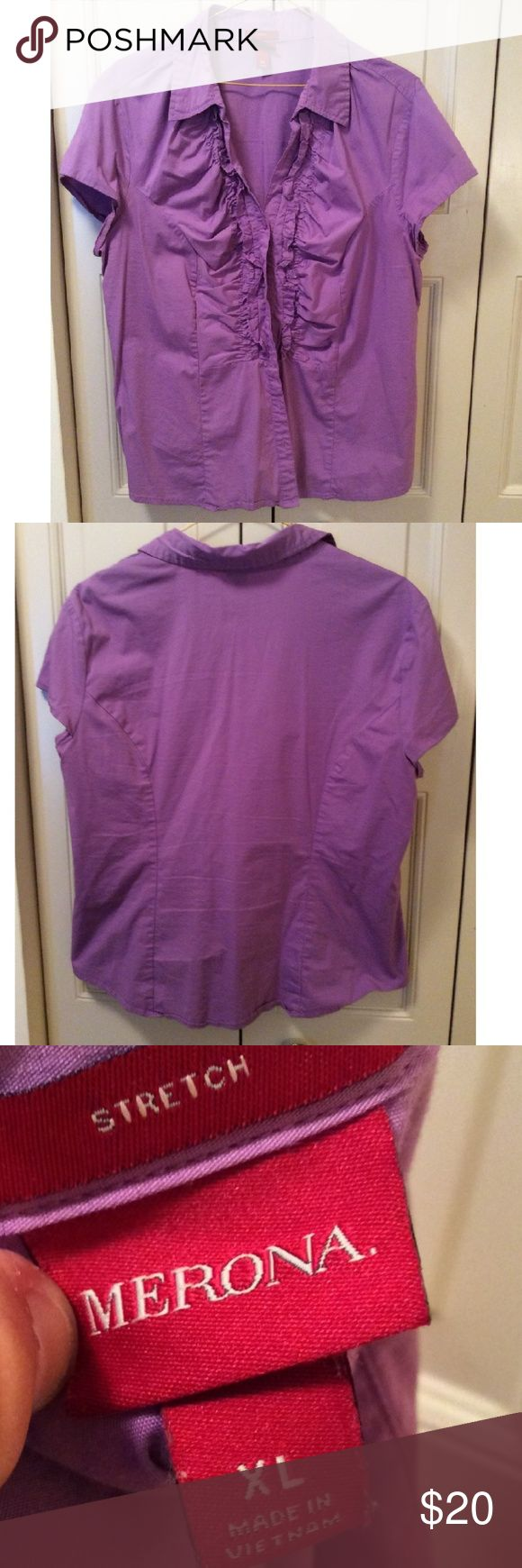 Lovely Purple Dress Shirt Button down shirt with ruffle detailing along the button down area. Shirt is stretchy. Merona Tops Button Down Shirts