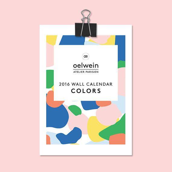 Calendrier mural 2016 COLORS par Oelwein sur Etsy