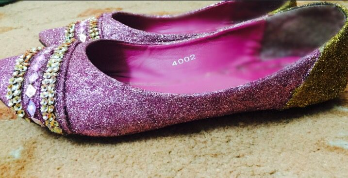I transformed my old pair of shoes into the fabulous sparkling pair :)