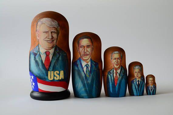 US, USA Presidents Leaders stacking dolls matryoshka nesting babushka dolls set of 5 pcs, Free Shipping