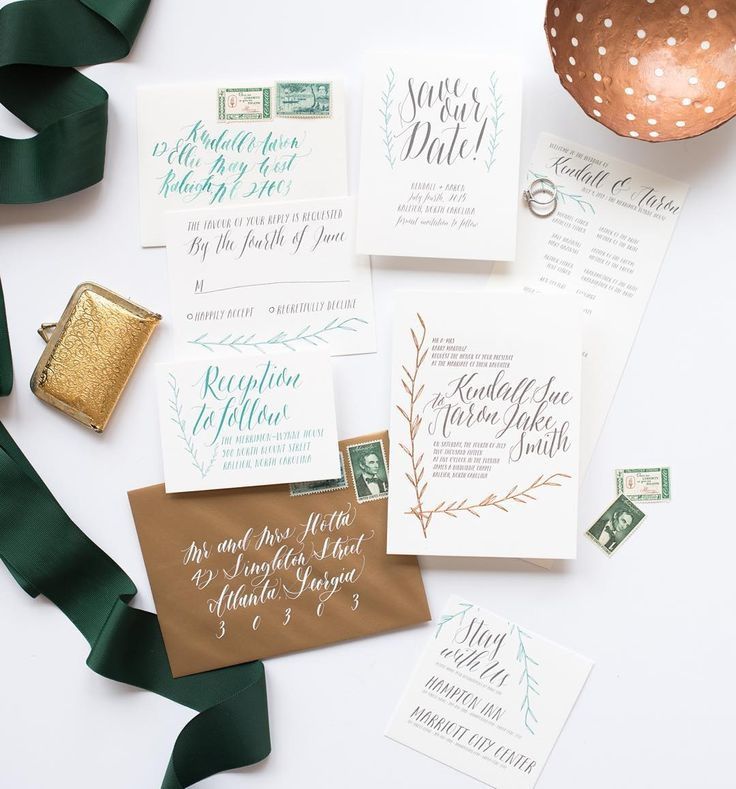calligraphy | calligraphy wedding invitation | vintage stamp | green | copper | hand lettered | unique | whimsical | reception card | reply card | save the date