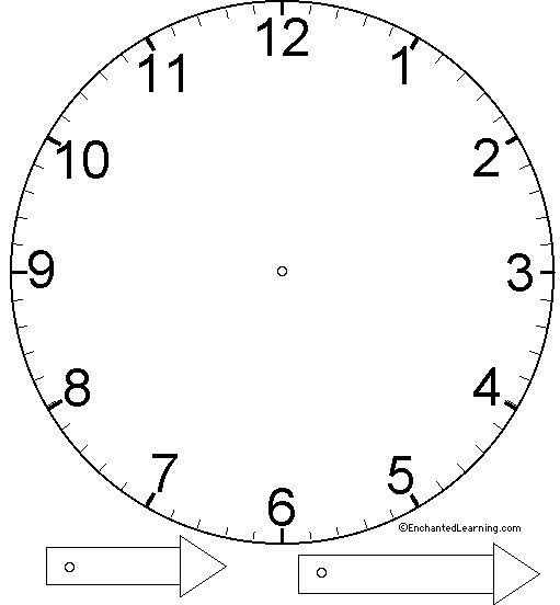 Clock Craft Template- Enchanted Learning Software