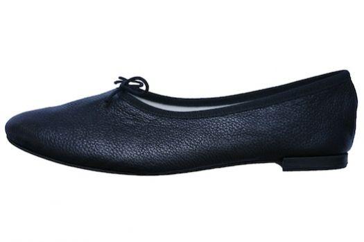 repetto black leather high cut ballerina flats, manon chevre crispee noir