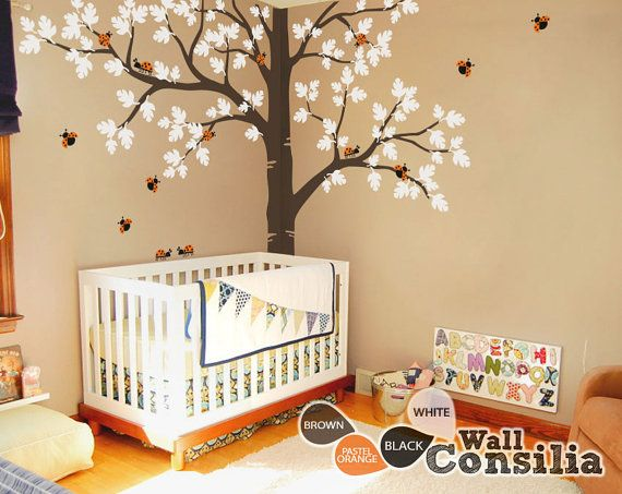"Tree Wall Decal -  Nursery Wall Decoration - Tree Wall Sticker - Full Corner Tree decal - Large: approx 93"" x 123"" - KC036 $115.00"