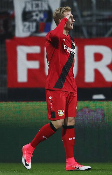 Julian Brandt of Leverkusen celebrates his team's first goal during the Bundesliga match between SV Darmstadt 98 and Bayer 04 Leverkusen at Jonathan Heimes Stadion am Boellenfalltor on April 5, 2017 in Darmstadt, Germany.