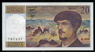 France Currency 20 French Francs Claude Debussy banknote of 1982, issued by the Bank of France - Banque de France.  French banknotes, French paper money, French bank notes, France banknotes, France paper money, Billets de banque en franc français, collection de papier-monnaie billets français, Les billets de la Banque de France, Papier monnaie - Billets France.  Euro exchange rate: 20 francs are the equivalent of 3 euros 5 euro cents (fixed rate of 6.55957 francs for 1 euro).