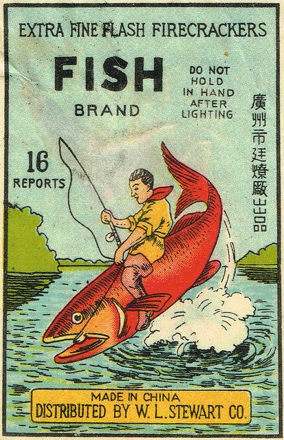 Fish C1 16's firecracker pack label by Mr Brick Label