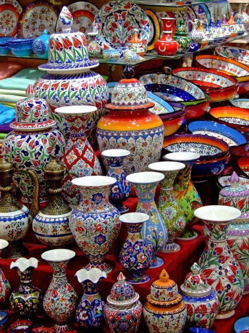 Turkish pottery; a lot of different genres but all modernly-made pieces. Probably from a tourist shop in Istanbul.