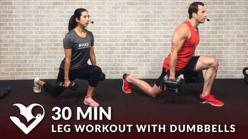Intermediate Difficulty with Advanced Modifications provided Learn to love that burn! This 30 minute leg workout with dumbbells is great for both men and women to build strength and lean muscle mass. You'll also have the
