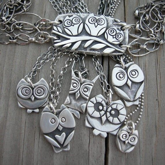Esme fine silver owl pendant MADE TO ORDER by westbyron on Etsy, $61.00