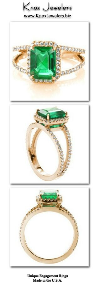 This colorful engagement ring design is crafted in 14K yellow gold and presents a stunning 2.20 carat emerald cut center gemstone. The natural Emerald is set within four tapering prongs. The split shank band and halo have a classic look of micro pavé with hand set round cut diamonds. Click on pin and work directly with our award winning designers and master jewelers along every step of the custom process.