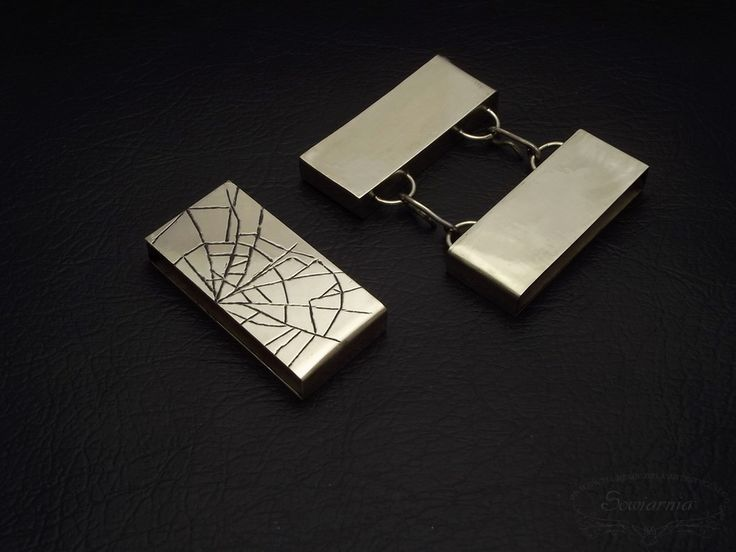 Brass box clasp and spacer with engraved spider's web motif