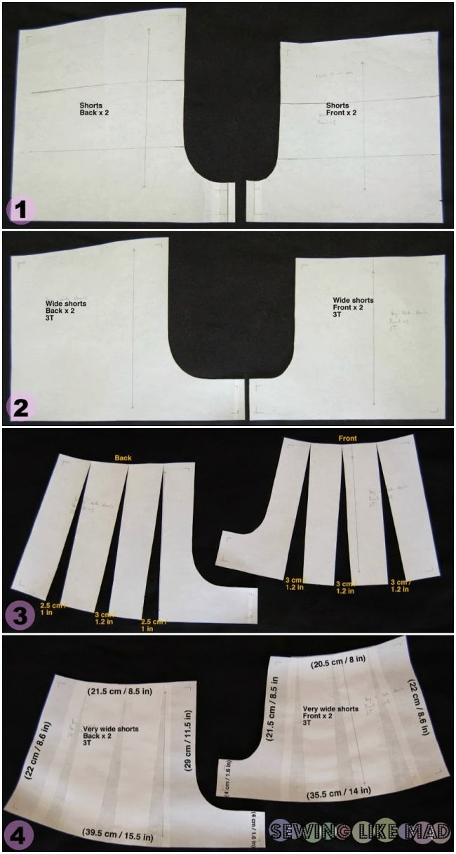 "Tutorial on how to draft a culottes pattern. A tutorial on how to make any shorts pattern with an ""elastic waist"" into a culottes pattern. Child size 3T great for little girls."