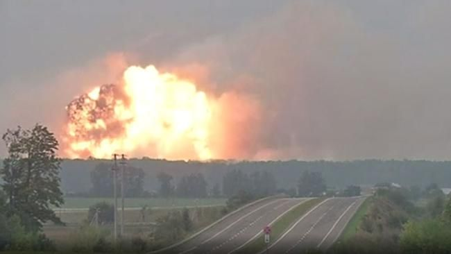Mass evacuations after explosion and blaze at arms depot in Ukraine - NEWS.com.au #757Live