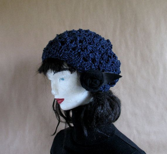 School Girl Beret  Navy Beret Hand Knit Slouchy by recyclingroom, $29.99