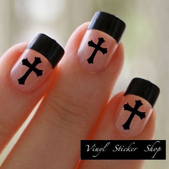 Love these too! :-) Etsy listing at https://www.etsy.com/listing/174093672/christian-cross-fingernail-art-sticker-1