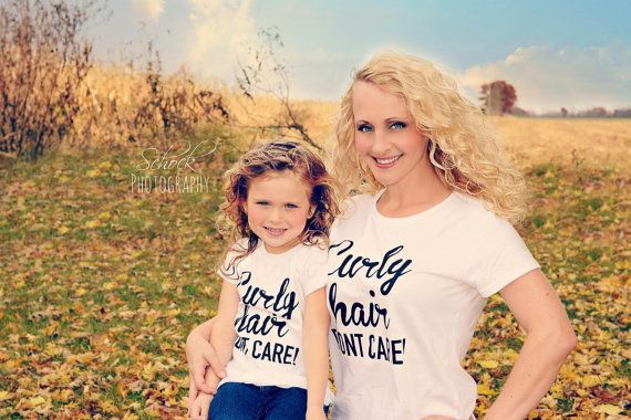 Mommy and Me Curly Hair Don't Care Teee Curly by BigSisLilSisShop