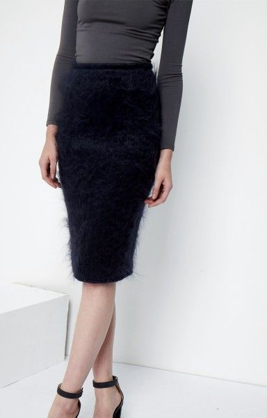 Stella + Alf, Midnight Blue, Mohair Pencil Skirt - Look