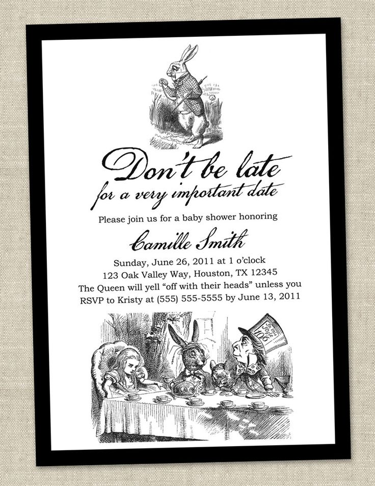 Alice in Wonderland Baby Shower Invitation maybe not a baby shower but beautiful invite...