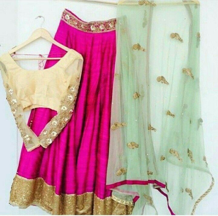 Lehenga gold hot pink mint green