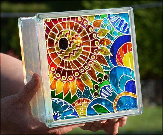 Painted Glass Block, Pop Art Sunflower, Night Light or SunCatcher. HAND PAINTED & RECYCLED. Decorative Lantern, Garden Ornament, Glass Paint