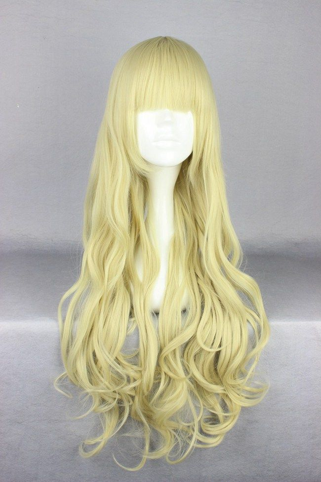 Newly Brilliant Soft Gold Long Deep Wave Pretty Fate Bangs Active Lolita Wig Sales Well