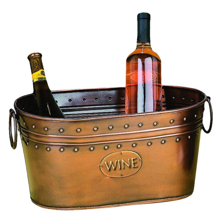 Woodland Imports Copper WINE Embossed Ice & Wine Chiller Bucket - 29298