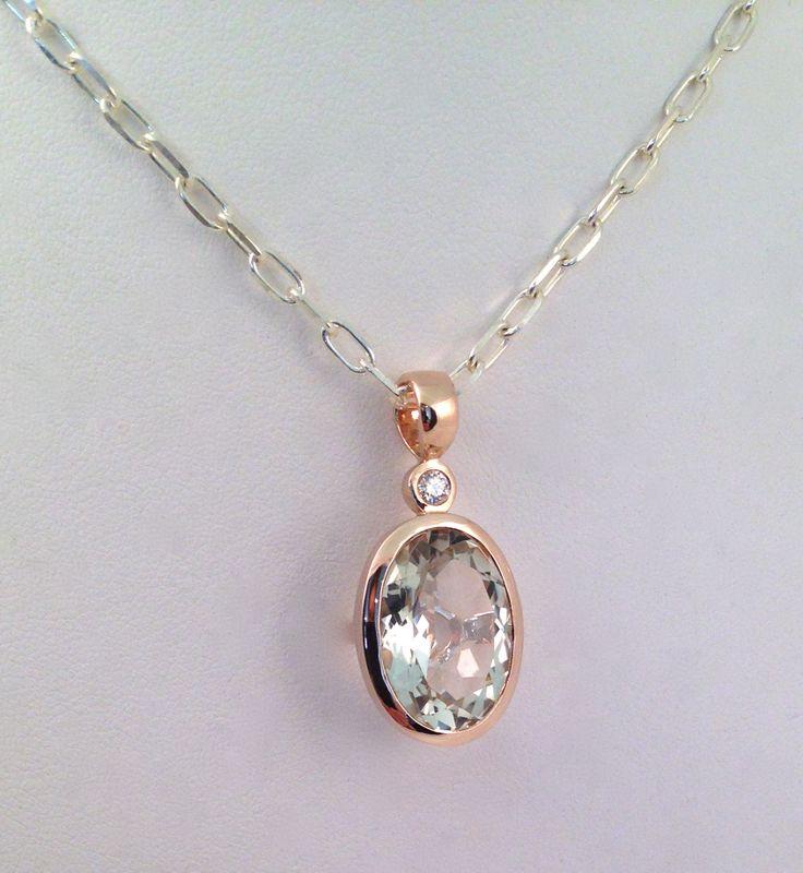 9ct Rose gold, mint quartz anddiamond pendant. www.facebook.com/kkjd.1959.jewdes