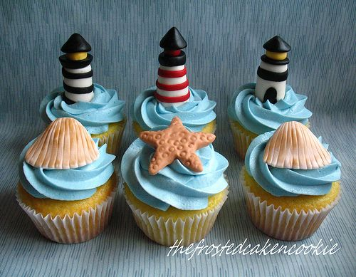 for dad: Ocean Theme, Lighthouses Cupcakes, Beaches Theme, Beaches Cupcakes, Beachi Cupcakes, Cups Cakes, Beaches Wedding, Cupcakes Rosa-Choqu, Seashells Cupcakes