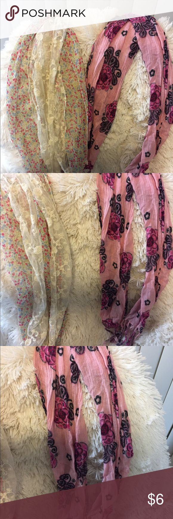 Scarves Pink and cream scarves .  Very trendy and pretty Accessories Scarves & Wraps