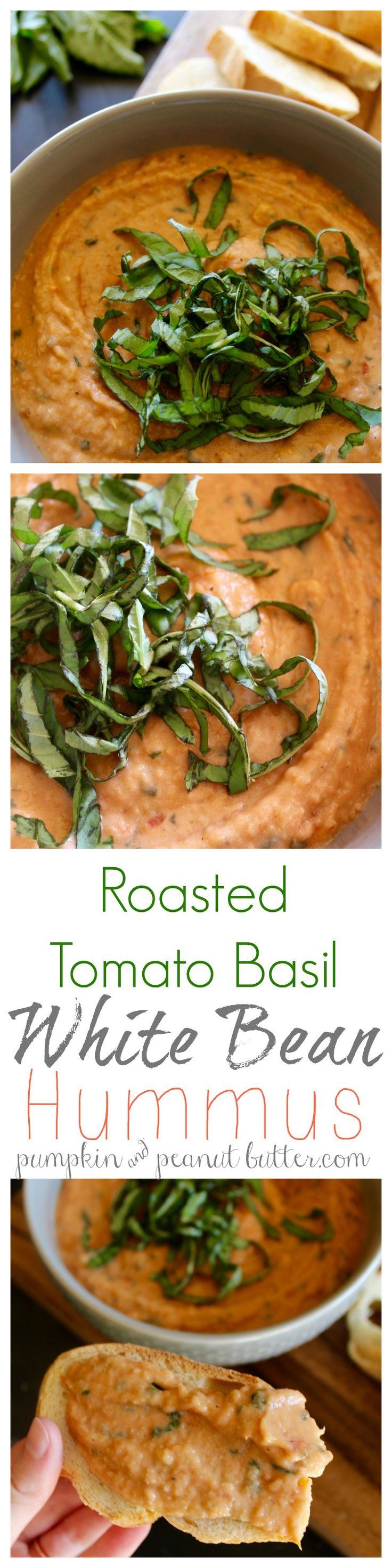 Roasted Tomato Basil White Bean Hummus // pumpkin & peanut butter {vegan, gluten free}