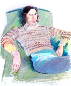 HOCKNEY Ossie Wearing a Fairisle Sweater CRAYON ON PAPER