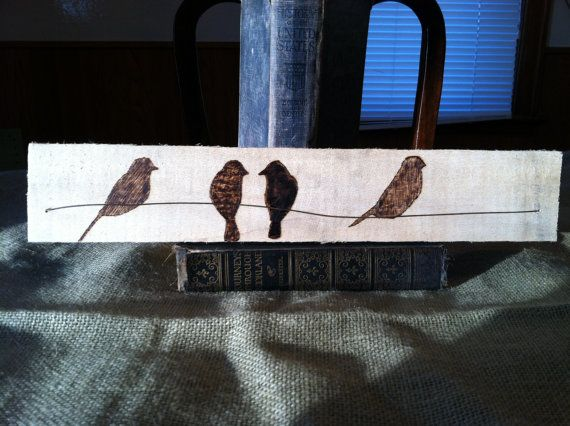 Upcycled Pyrography Art TITLED 4 Birds on A by VintageUpCycler, $20.00