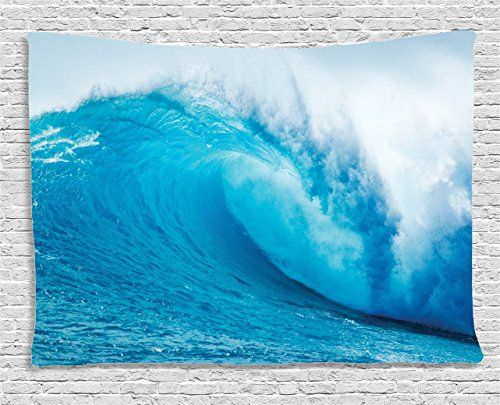 Ocean Decor Tapestry by Ambesonne Wavy Ocean Adventurous Surfing Extreme Water Sports Summer Holiday Destination Picture Wall Hanging for Bedroom Living Room Dorm 60W X 40L Inches Aqua and White -- You can find out more details at the link of the image. (Note:Amazon affiliate link)