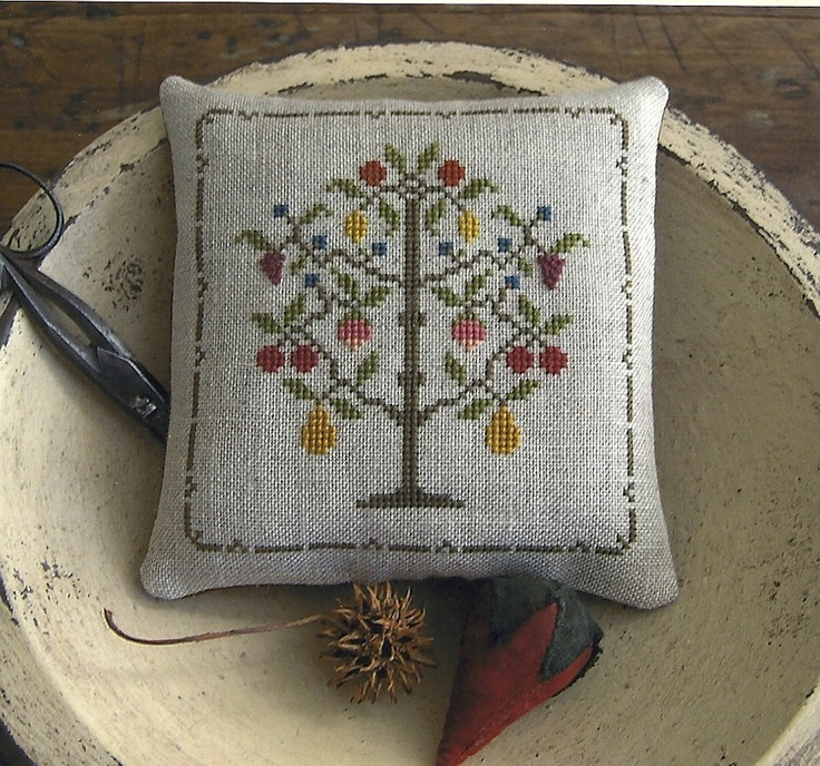 Primitive Folk Art Cross Stitch Pattern: HEPSIBAH'S ENCHANTED HARVEST -- Pinkeep. $8.50, via Etsy.