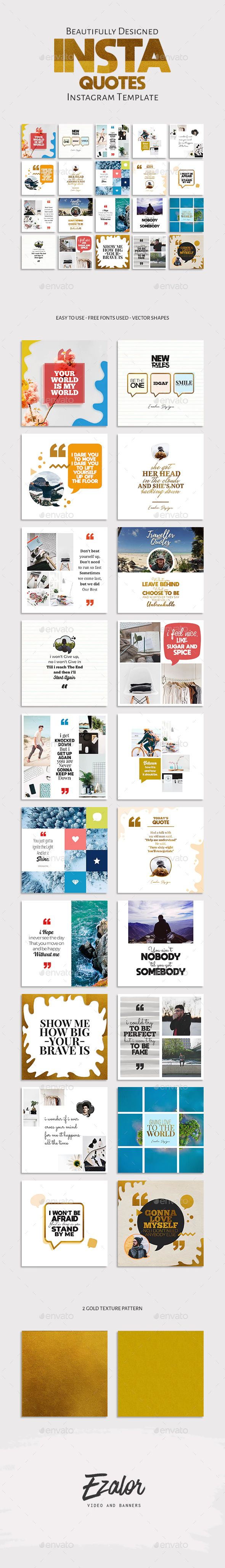 Insta Quotes Template by EZALOR | GraphicRiver Get it now!! Or subscribe unlimit…