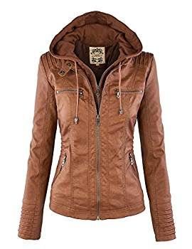LL WJC663 Womens Removable Hoodie Motorcyle Jacket XS CAMEL