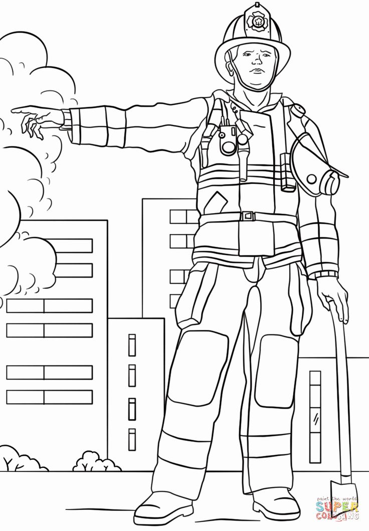 Fire Fighter Coloring Page Luxury Firefighter Coloring ...