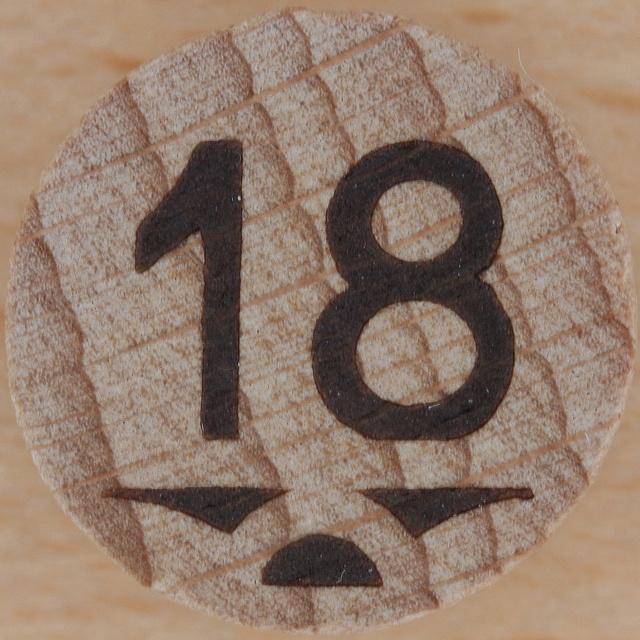 Wooden Bingo Number 18