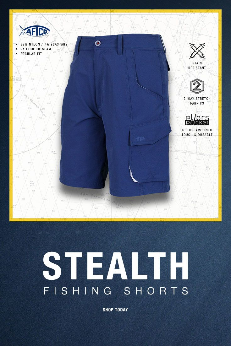 The original fishing short; re-invented. Stealth is the new standard in men's performance fishing shorts combining the latest in high-tech fabrics with modern short style  to meet the demands of serious fishermen worldwide. With a longer outseam than our traditional fishing short for men, the Stealth Fisherman Short is  constructed from a unique nylon fabric coupled with AFGUARD stain resistance, AFLEX 2-way stretch and AFBLOCK sun protection.