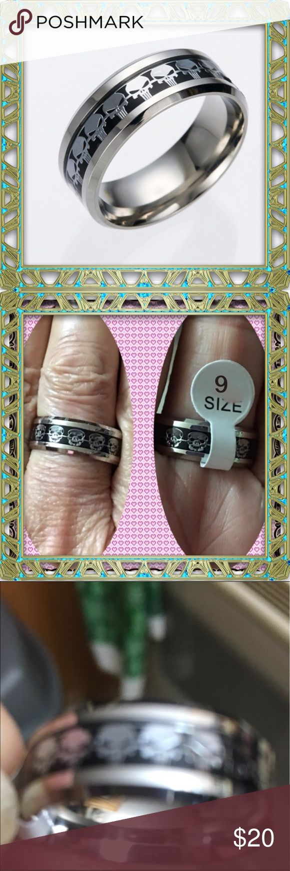 harley davidson wedding rings harley davidson wedding rings MAN STERLING SILVER SKULLS w BLK BACKGROUND NEW NWT SilverSterling SilverHarley DavidsonWedding RingEngagementSkulls