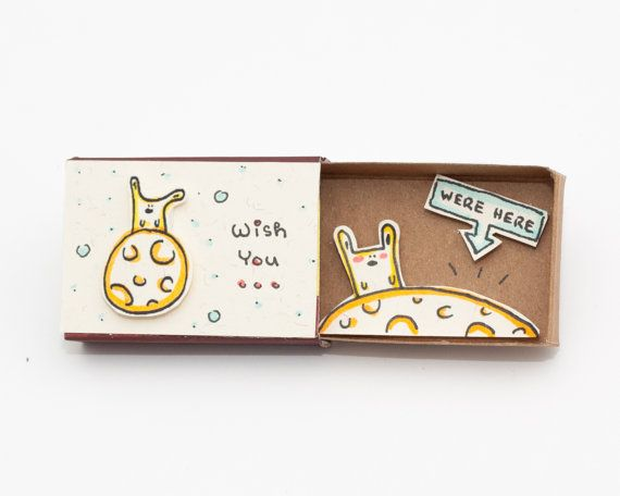 "Sweet Long Distance Love Card/ Missing you Card/ ""Wish you were here"" Matchbox/ Lonely Bunny/ Gift for Boyfriend/ Gift for Girlfriend/ OT072"