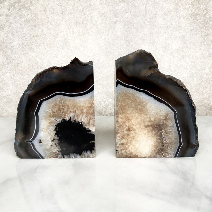 Black and Crystal Agate Bookends by Lemesto