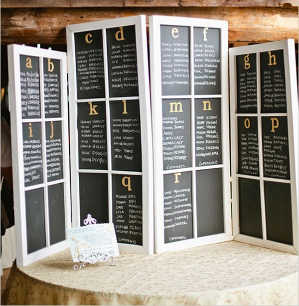 Seating charts in chalk and window panes