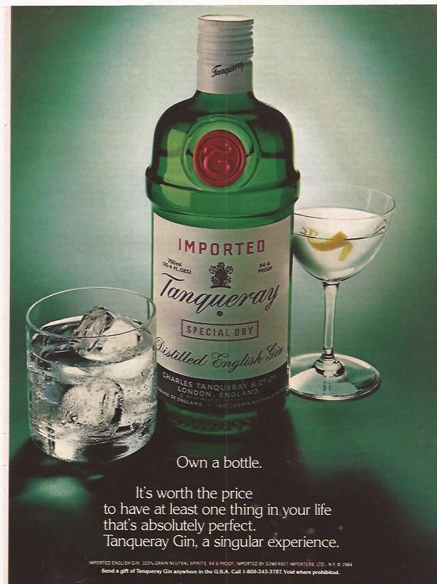 1984 Imported Tanqueray Special Dry distilled English gin ...