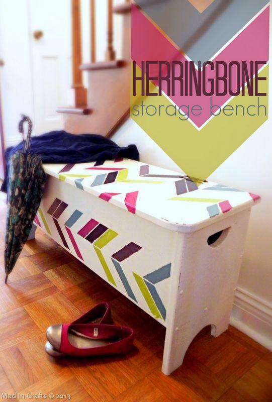 Stenciled Herringbone Entryway Storage Bench - Mad in Crafts