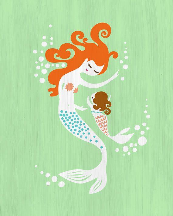 8 x 10 zeemeermin moeder & baby meisje/dochter door ThePaperNut