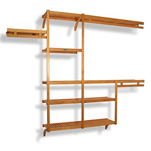 John Louis Home JLH-522 Standard 12-Inch Depth Closet Shelving System, Honey Maple John Louis