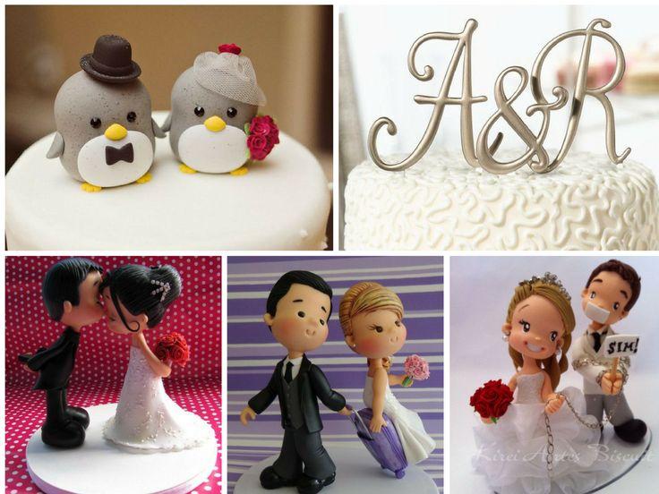 Colocar os noivinhos no topo do bolo de casamento é já uma tradição muito antiga, algumas noivas continuam a preferir os modelos de noivinhos mais tradicio